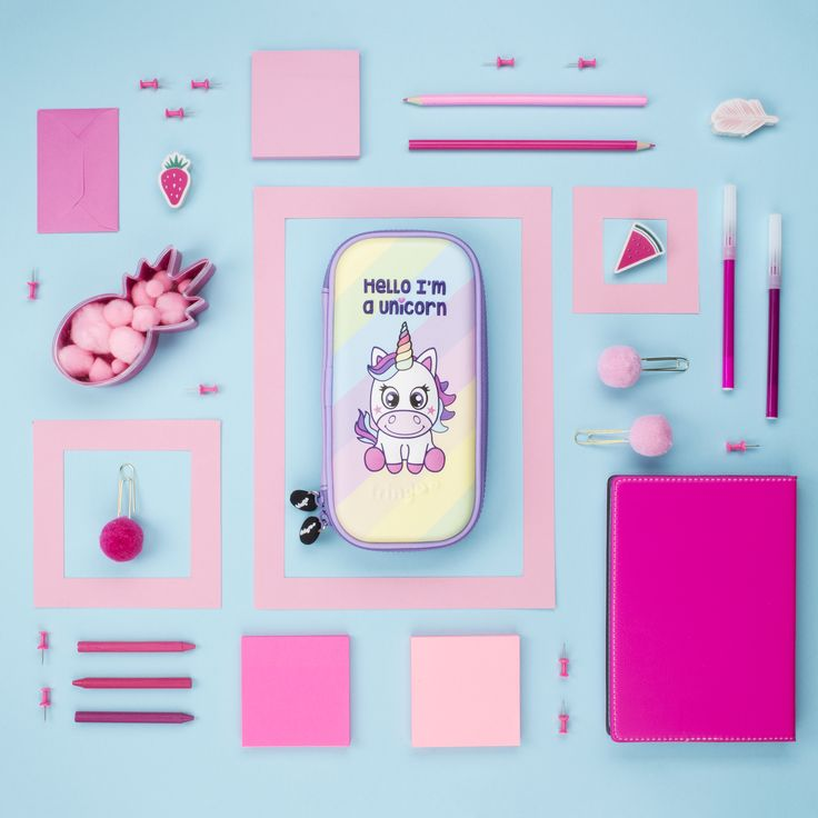 Unicorn Pencil Case. Unique hard top, embossed shell school accessory for kids. Large capacity stationery organiser.
