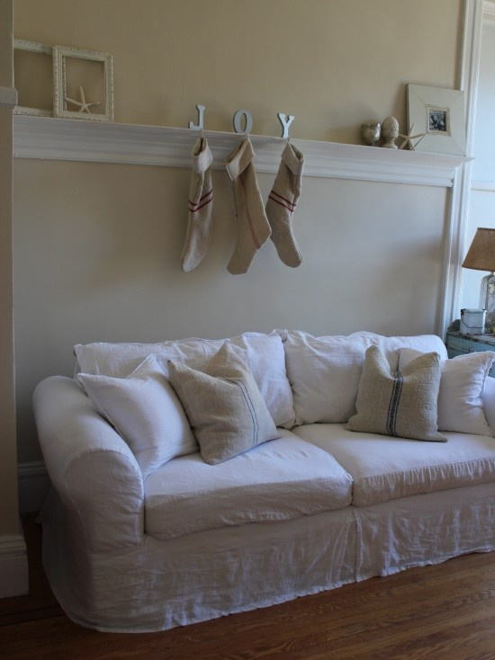 White Slipcovers Grey Greige Burlap Linen Mix Them All Together Eclectic Living RoomLiving