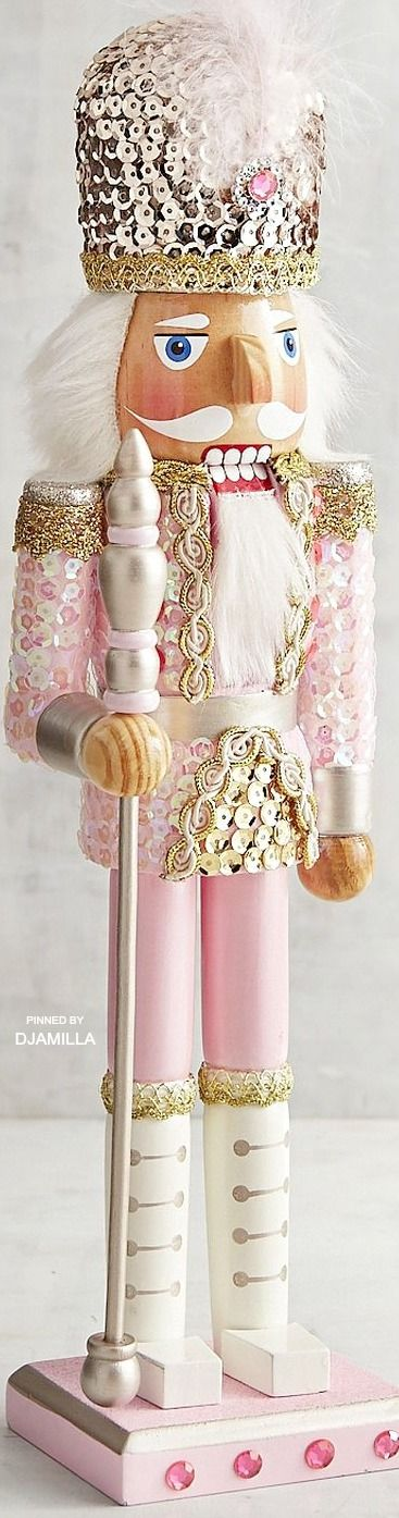 """Pink Sequined 15"""" Nutcracker. It also cracks fruits (as in wacky) and kooks.  Thank you."""