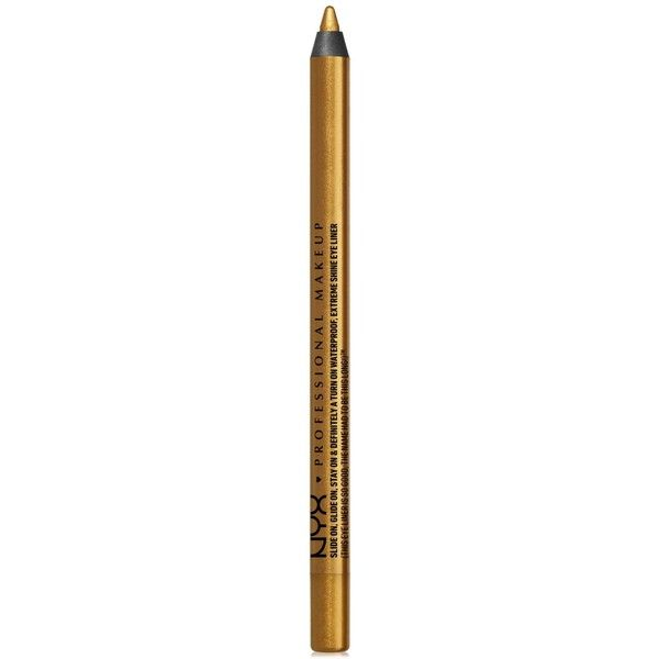 Nyx Professional Makeup Slide On Eye Pencil ($8) ❤ liked on Polyvore featuring beauty products, makeup, eye makeup, eyeliner, glitzy gold, liquid eyeliner, nyx eyeliner, nyx, liquid eye liner and pencil eyeliner