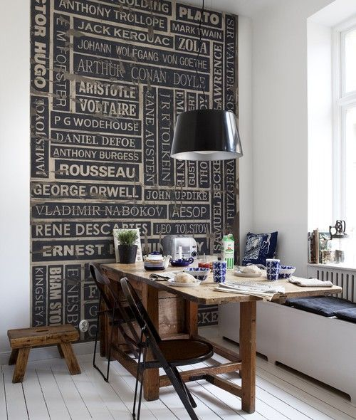 love, love this wall idea...would love to recreate with all sorts of personal quotes (places I have traveled, birthdates, anniversary, where my husband proposed...