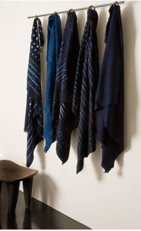 hand-dyed natural indigo (indigofera plant) throws from West Africa