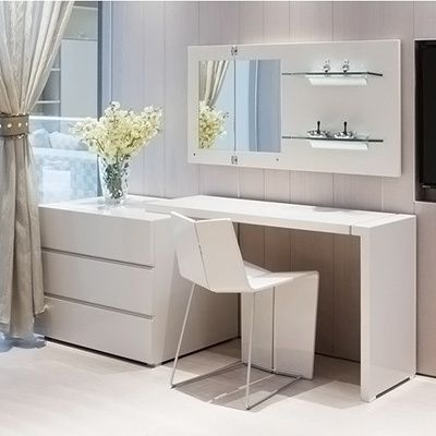 This dresser and desk combo features strong lines, and a simple, modern design. It contains 3 deep drawers for storage and adjustable desk top with in either black or white for an extra sleek look.