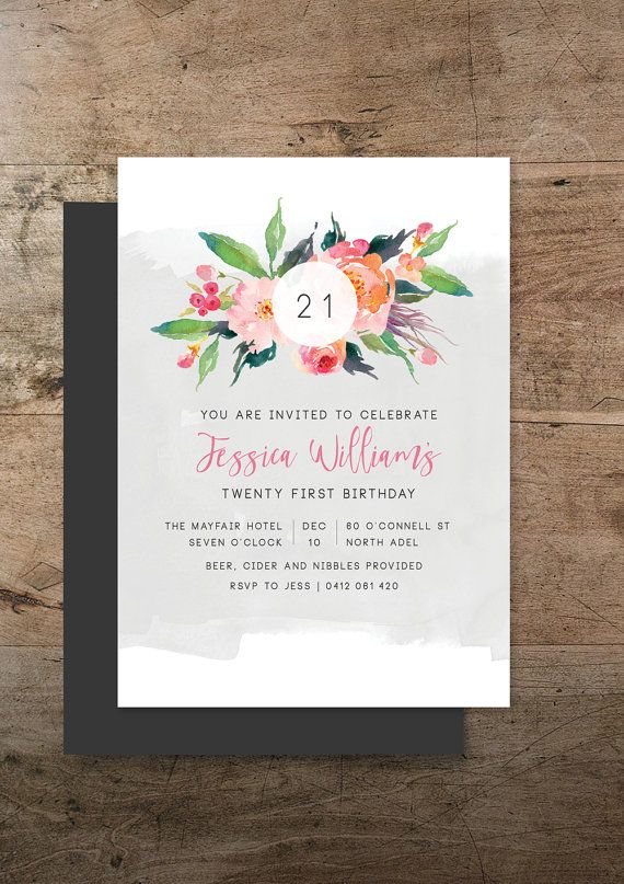 Industrial flora double sided birthday invitation. For the lover of bright florals and ink washes / RMcreative