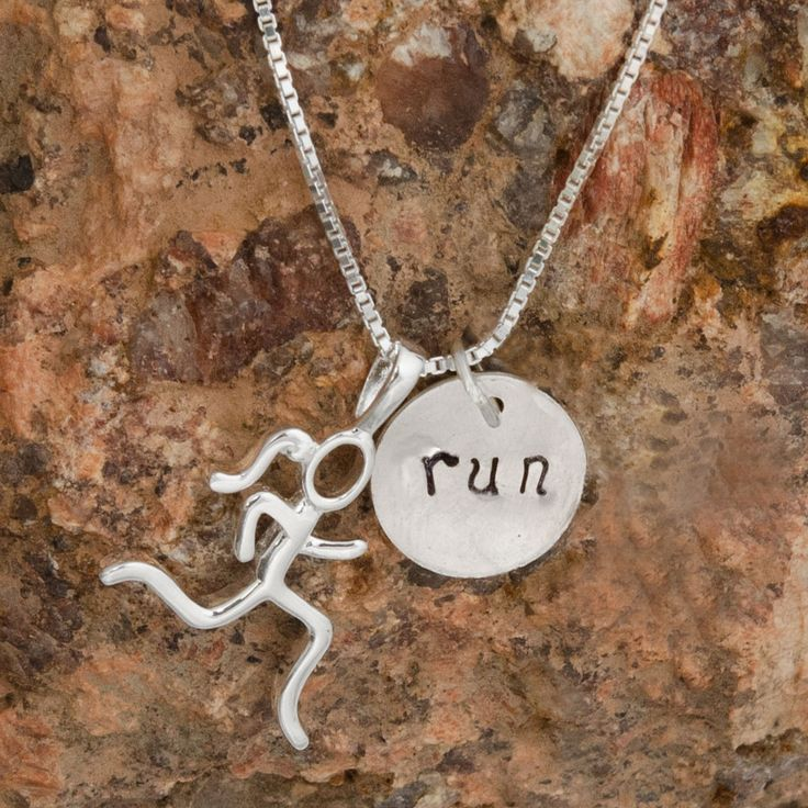 Sterling Silver Run Hand Stamped and Running Girl | Sterling Silver Running Jewelry