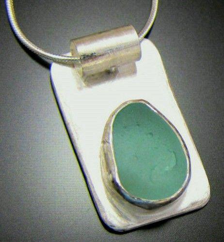 Genuine Sea Glass Necklace - Beach Combed Aqua Blue Tear Drop - Sterling Silver Bezel Jewelry