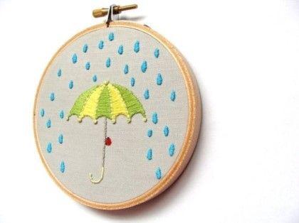 프랑스자수, 프랑스자수배우기, 프랑스자수도안 <월든문화센터> - 비오는 날 비오는 날Embroidered ...