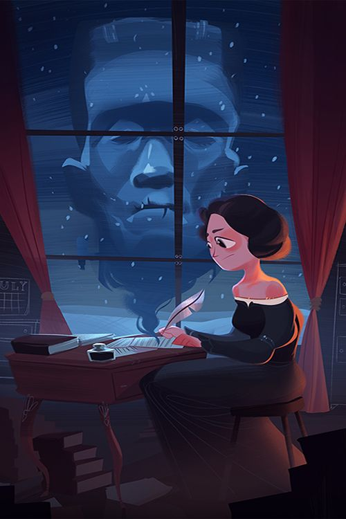 "powersimon: "" Mary Shelley, writing a certain scary story. For SketchDaily today :) """