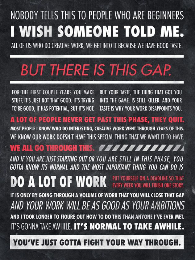 Ira Glass quote (Google Image Result for http://designfix.files.wordpress.com/2011/12/quote-poster1.jpg)