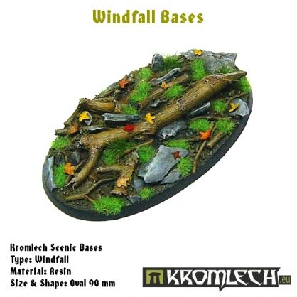 This set contains 1 oval 90 x 52 mm scenic base. Windfall theme.
