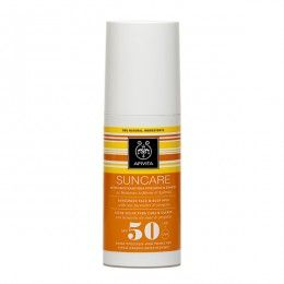 SUNCARE Sunscreen Face & Body Milk SPF50 with sea lavender & propolis. High Protection from UVA and UVB radiation #Moisturization and Enhancement #Antioxidant Action Sunscreen face and body milk cream (SPF 50 and UVA 29) with patented propolis that combats photoaging. Ideal for light and sensitive complexions, as well as for skin intolerant to the sun or not frequently exposed to the sun and thus easily burned.  Read more at www.apivita.com