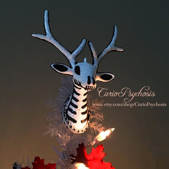 Nightmare Before Christmas Tree Topper for Mini Table Top Tree, Tim Burton Hand Painted Reindeer Nightmare Before Christmas Decor White Stag