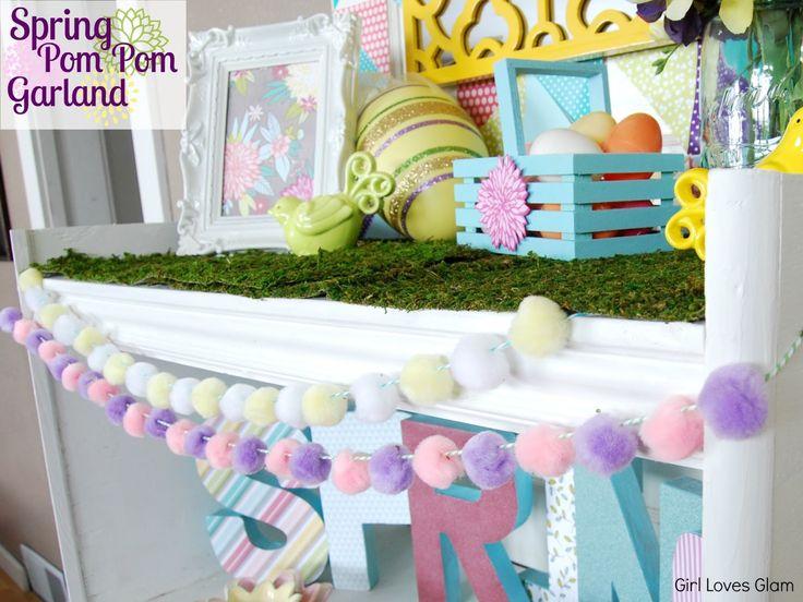 Spring Pom Pom Garland- Easter Craft Ideas #Easter #DIY #garland