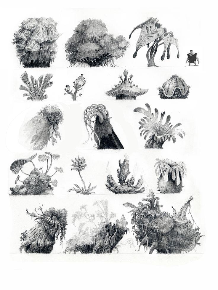 De retour dans la moiteur luxuriante de la forêt primaire avec plus de plantes ! La première image est la plus récente, les deux suivantes étaient des recherches lors de la préproduction pour savoir jusqu'où on aurait pu aller trop loin. A little rain and some sun, the occasional earthquake and lots of love, then…