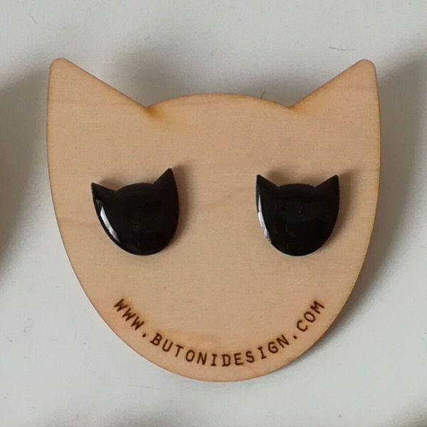Kissa -nappikorvakorut, musta | katoko