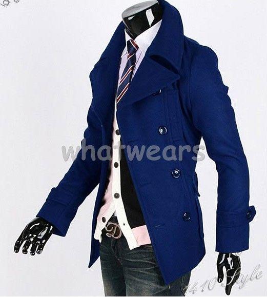 Herren-Revers-Zweireihig-kurz-Mantel-Trenchcoat-Jacke-Blau-3-Farben-M-L-XL