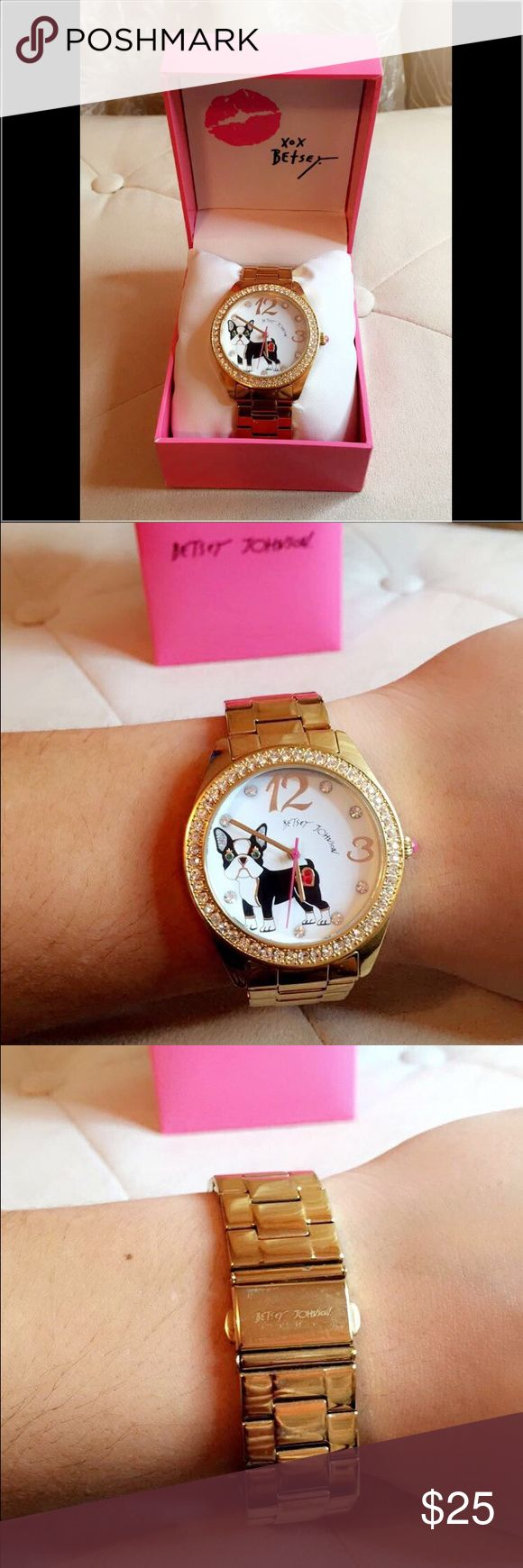 GOLD FRENCH BULLDOG BETSEY JOHNSON WATCH Gold French bulldog Betsey Johnson watch. Great condition. Battery needs replaced Betsey Johnson Accessories Watches