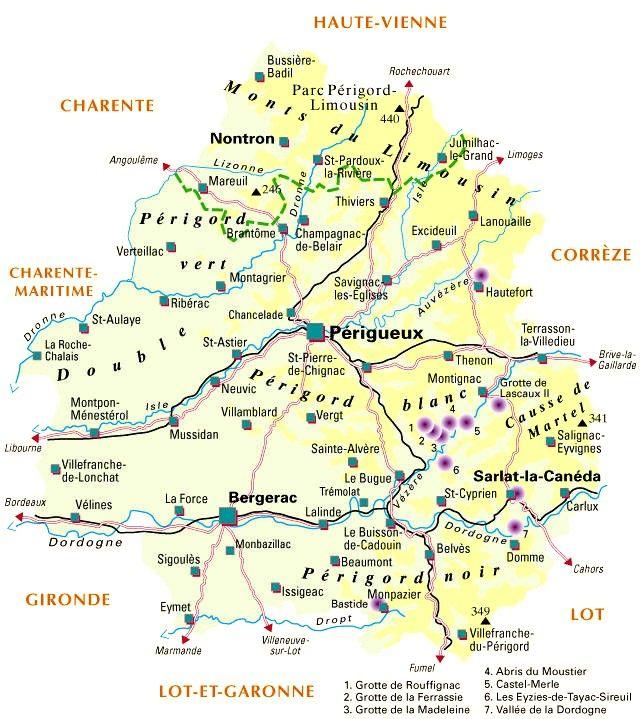 Carte Departement De La Dordogne 24 Perigord La Dordogne Et