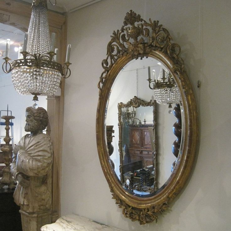 Large French Gilt Oval Bevelled Glass Mirror