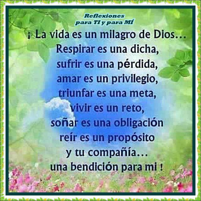 Reflexiones para TI y para MÍ: * La vida es un milagro de Dios...