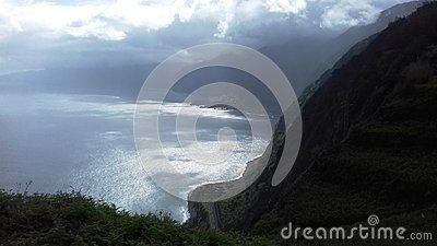 Volcanic rocks in the Atlantic Ocean at Ribeira da Janela on the island of Madeira in Portugal.