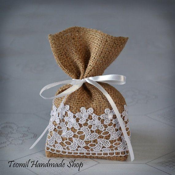 Bolsa de dulces a Favor, bolsa de regalo de boda arpillera, despedida de soltera - conjunto de 25