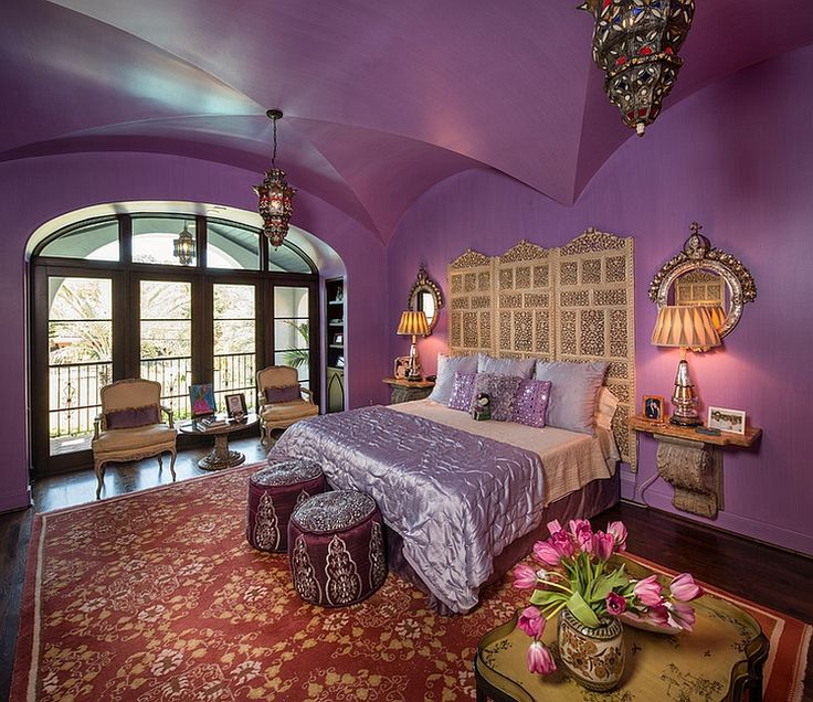 Purple is a perfect hue of a Moroccan themed room with a modern appeal
