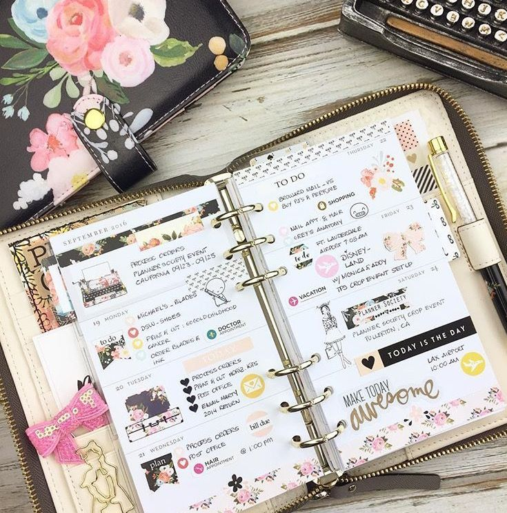 Layout in my personal size grey Kate Spade planner using stickers from the planner Society and something new coming to our shop