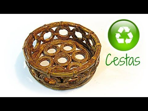 Cómo hacer cestas de periodico. How to make basket paper - YouTube