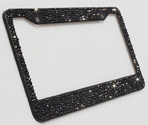 Carfond Pure Handmade Bling Bling Multi-size Selected Rhinestones Aluminum License Plate Frame Bonus 2 Matching Screws & Caps (black)