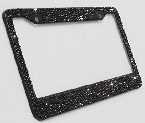 Carfond Pure Handmade Bling Bling Multi-size Selected Rhinestones Aluminum License Plate Frame Bonus 2 Matching Screws & Caps (black)