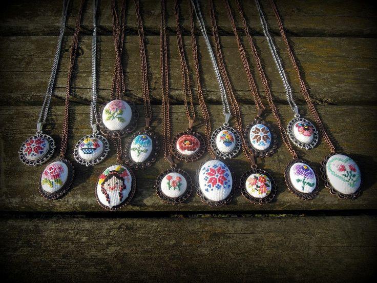 cross stitch necklace by CARPICI on Etsy