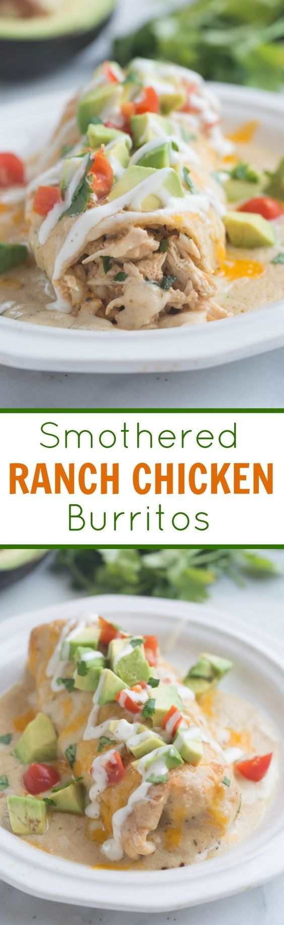 These amazing Smothered Ranch Chicken Burritos are baked until crisp and then smothered in a creamy homemade ranch sauce.| Tastes Better From Scratch