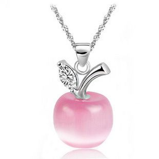 Korean Street Snap Fashion Silver Necklace Sweety Lovely Stone Apple Pendants Necklace Free Shipping AK020 $8.04