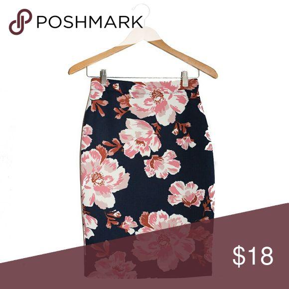 Eden floral pencil skirt 95% polyester 5% spandex elastic waistband Pink floral pattern Navy blue pencil skirt Skirts Pencil
