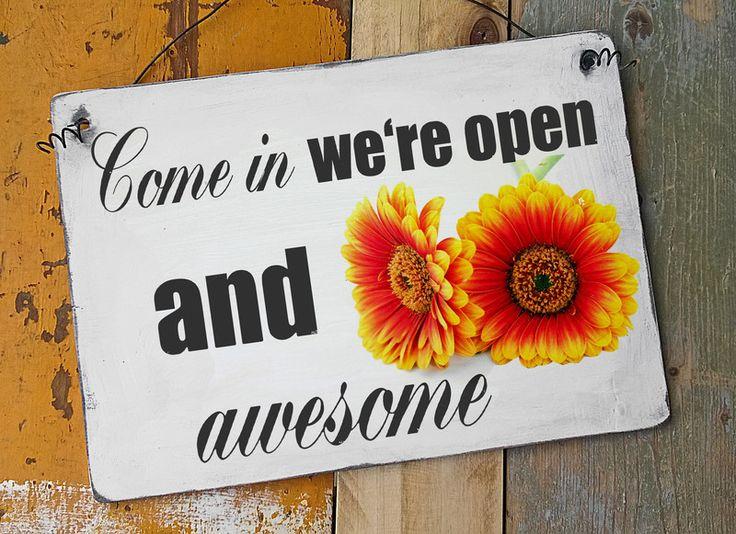 Wanddeko Wandschild Schild Holzschild mit Spruch und Motiv Shabby super als Ladenschild Türschild Werbeschild