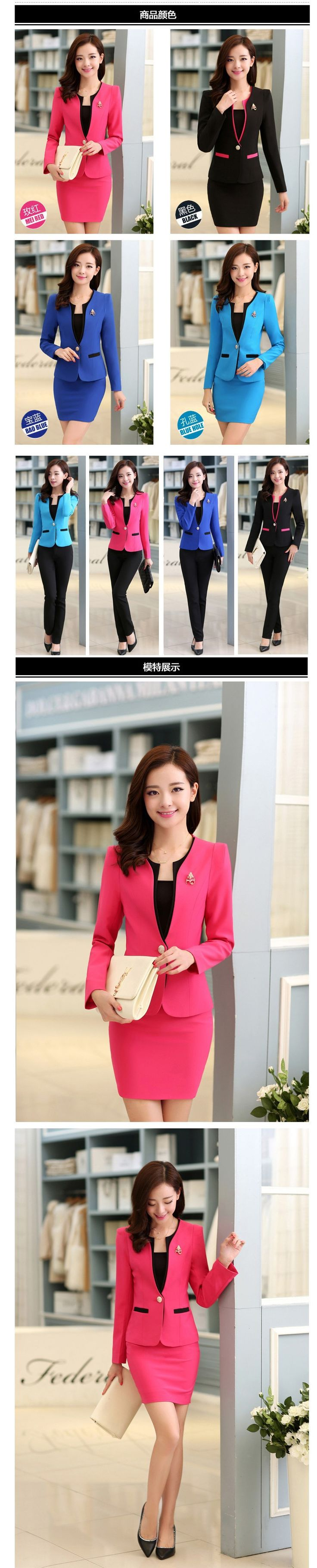 New 2015 Autumn Formal Red Blazer Women Suits with Skirt and Jacket Sets Ladies Office Suits Work Uniform for Beauty Salon | Fashion Boutique