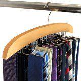 Hangerworld Cintre porte-cravates classique en bois à 24 crochets