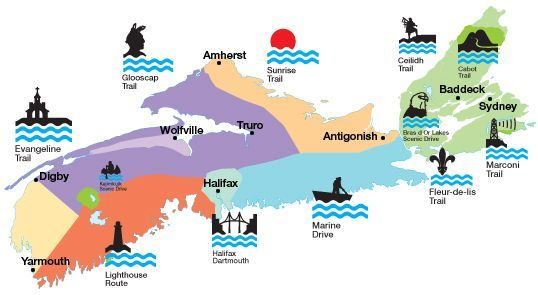 This map of Nova Scotia gives a good idea of the variety of scenic travel routes in the province.