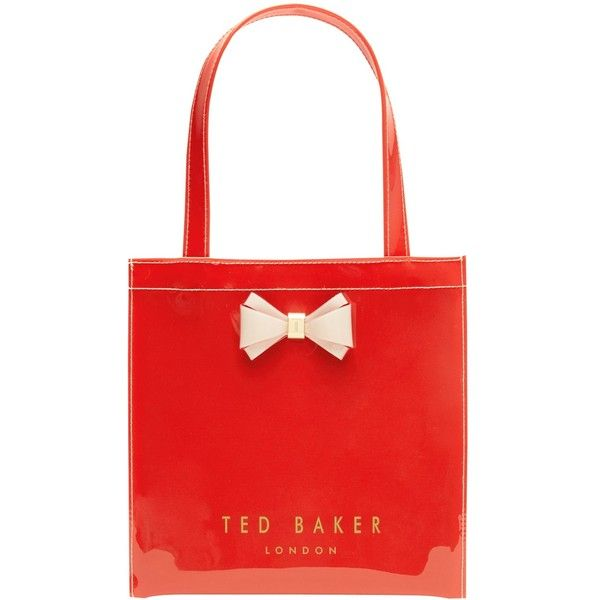 Ted Baker Aracon Small Shopper Bag ($27) ❤ liked on Polyvore featuring bags, handbags, tote bags, bright orange, red purse, hand bags, shopping bag, red handbags and orange tote bag