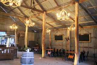 the heritage Hay Shed with 10 rope chandeliers.