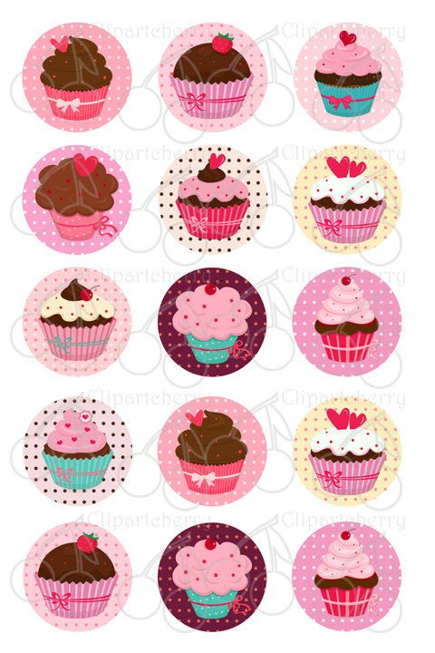 Sweet Cupcakes 1 Inch Digital Circles Design por Cherryclipart, $2.50