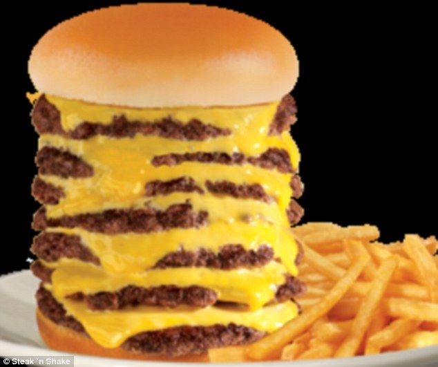 Diet disaster: The Steak n' Shake 7x7 contains seven meat patties stacked with seven slice...