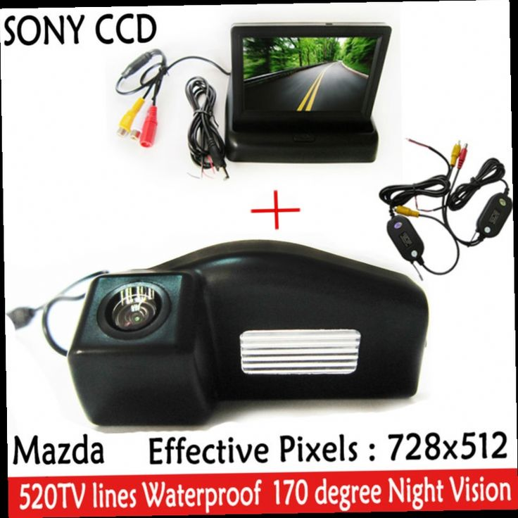 48.35$  Buy now - http://ali5u9.worldwells.pw/go.php?t=32575071239 - 4.3 Inch TFT LCD Auto Car Rear View Mirror Monitor Parking + Night Vision Car Rearview Reverse CCD Camera for  Mazda 2 / Mazda 3 48.35$