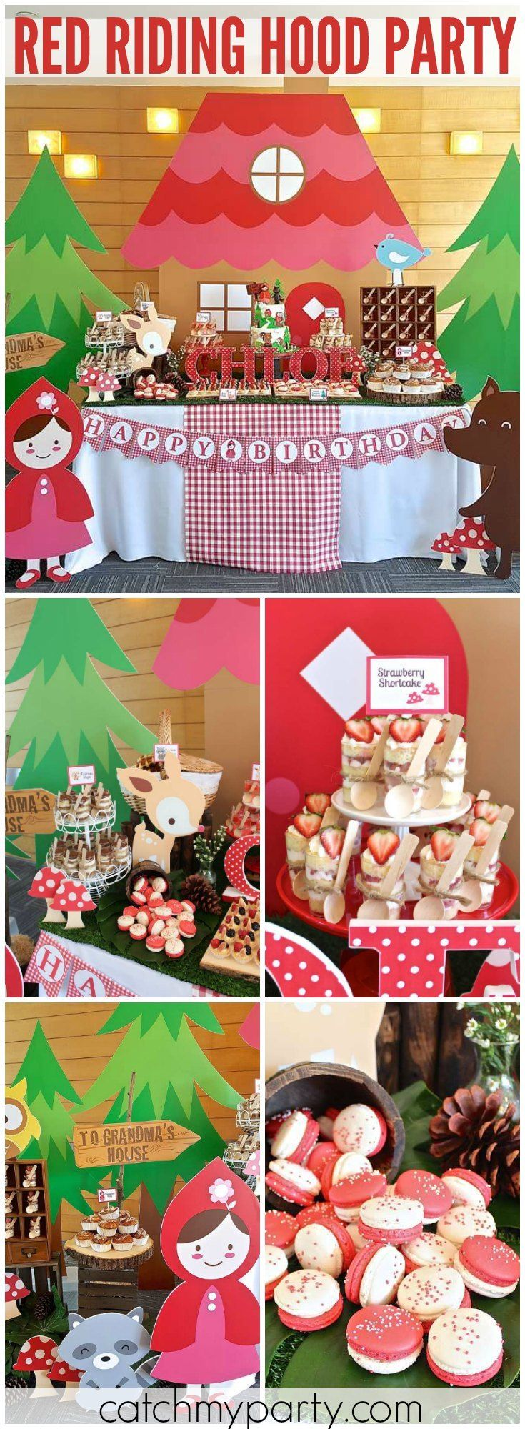 So many fantastic ideas at a Little Red Riding Hood party! See more party ideas at Catchmyparty.com!