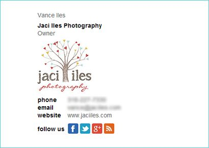 Great email signature example from Jaci Iles Photography - see ...