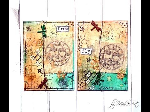 Artist Trading Cards *Be free*, Mixed Media (MakaArt) #14 - YouTube
