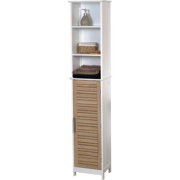 This bathroom linen tower cabinet Stockholm is in medium-density fiberboard (MDF). This bath furniture features a tall oak painted finish door, chrome drawer pulls and two shelves inside to help banish clutter from your bath. The two fixed open shelves are ideal for towels, toiletries and knick-knacks. It's an easy and elegant way to fit more necessities into your bathroom and maximize your bathroom's space. This elegantly-designed linen cabinet is easy to assemble with the included h...