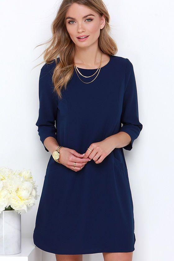 Jack by BB Dakota Dee Navy Blue Shift Dress at Lulus.com!