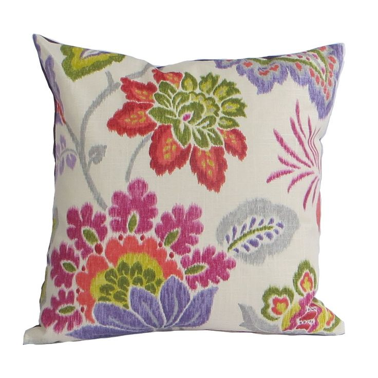 Kravet Cavello Pillow Cover Floral Purple Red SHADES OF MAUVE, PURPLE, PERIWINKLE, GREEN, RED, ROSE, GREY ON OFF WHITE BACKGROUND 55% Linen 45% rayon